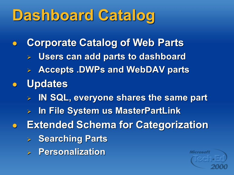 Dashboard Catalog Corporate Catalog of Web Parts Updates