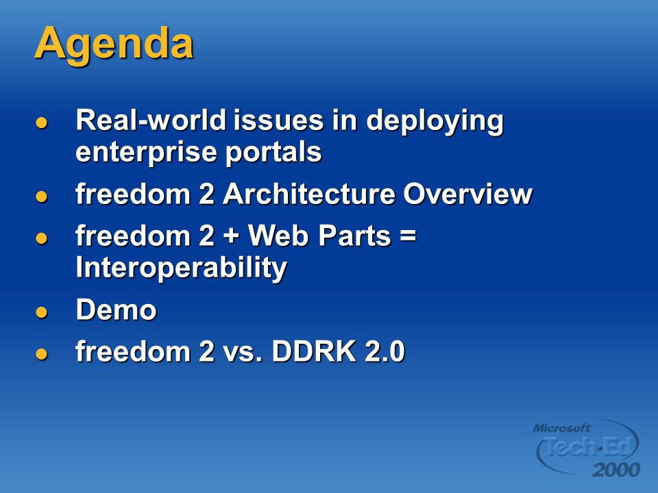 Agenda Real-world issues in deploying enterprise portals