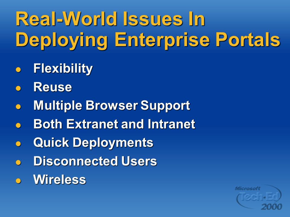Real-World Issues In Deploying Enterprise Portals