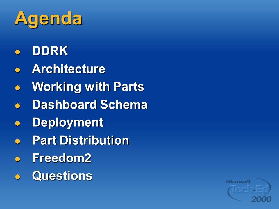Agenda DDRK Architecture Working with Parts Dashboard Schema