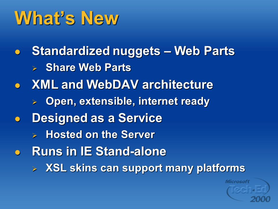What's New Standardized nuggets – Web Parts