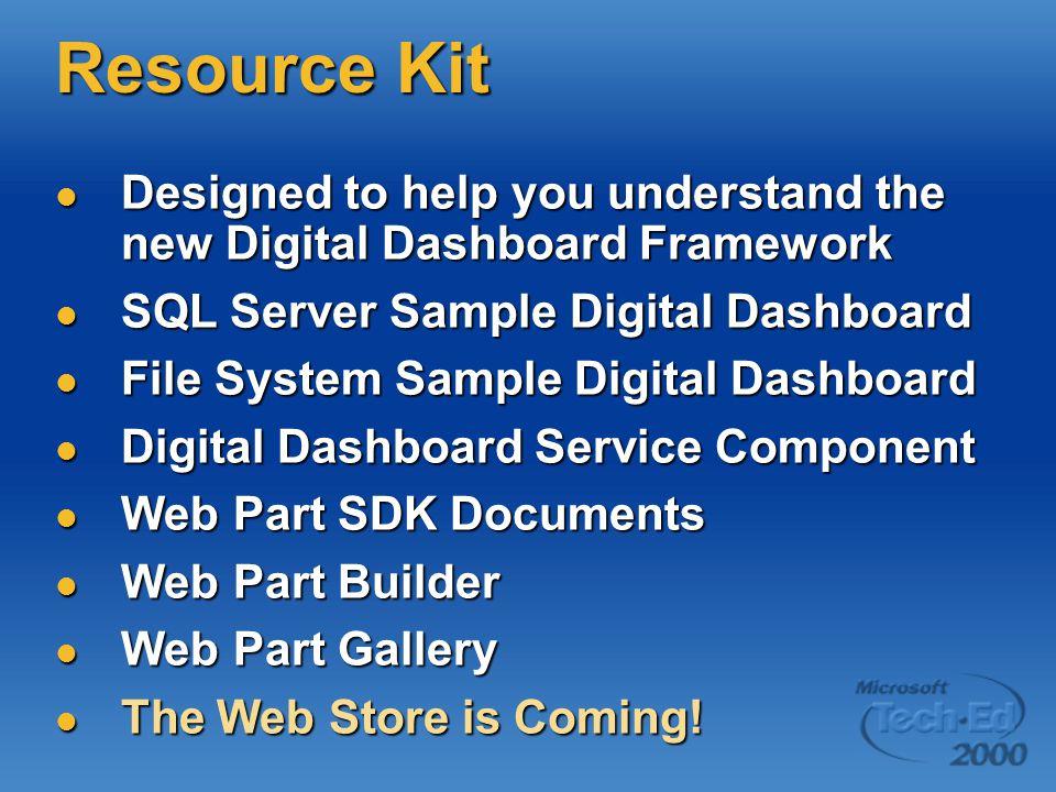Resource Kit Designed to help you understand the new Digital Dashboard Framework. SQL Server Sample Digital Dashboard.