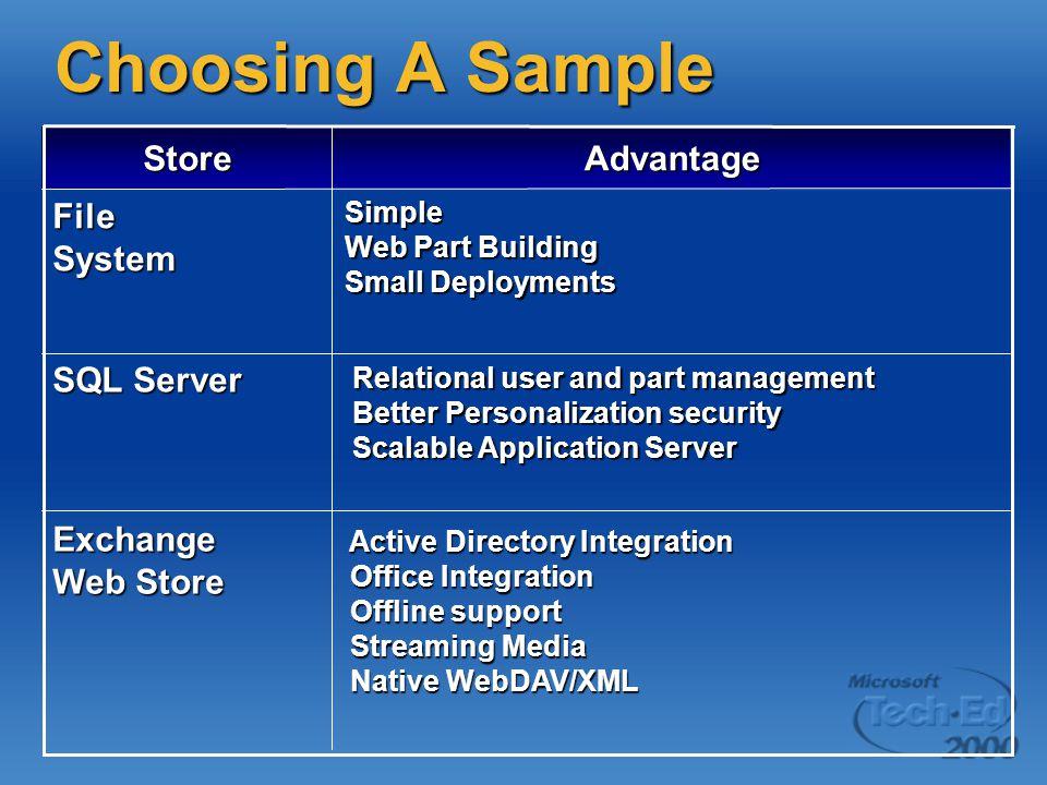 Choosing A Sample Store Advantage File System SQL Server Exchange