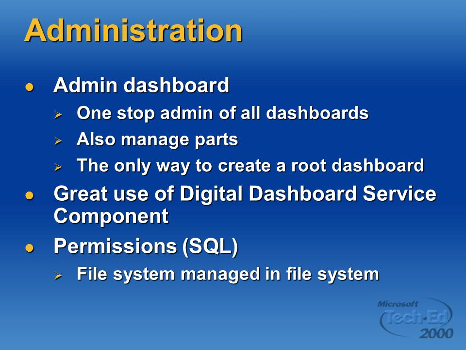 Administration Admin dashboard