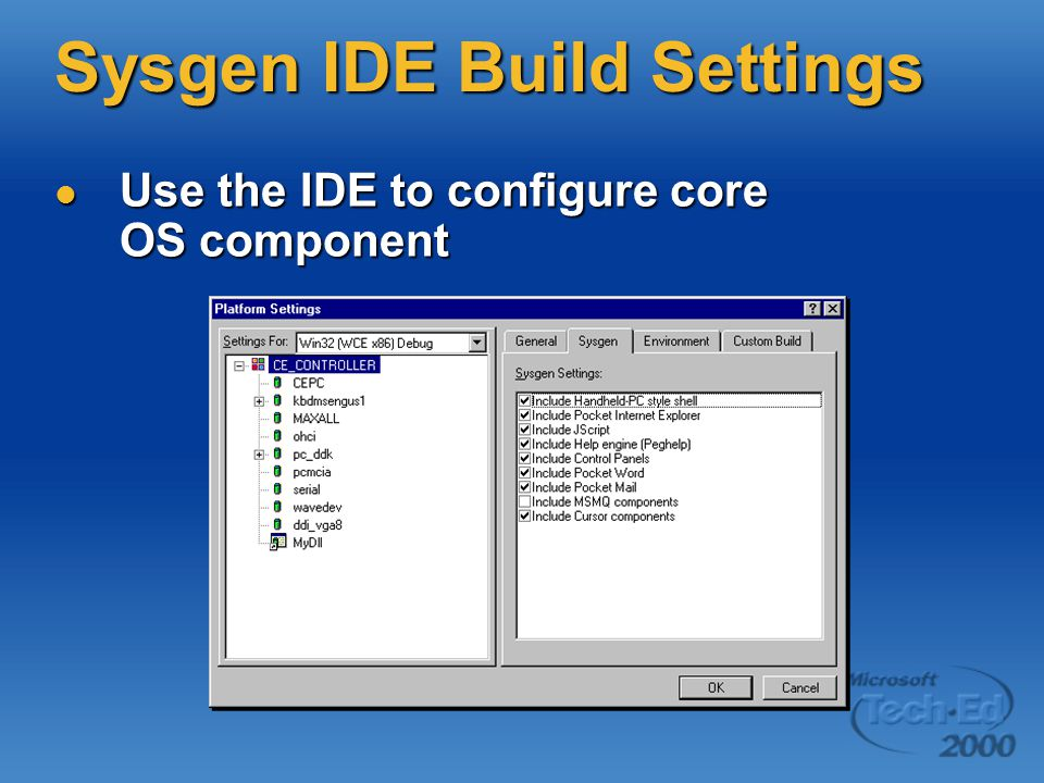 Sysgen IDE Build Settings