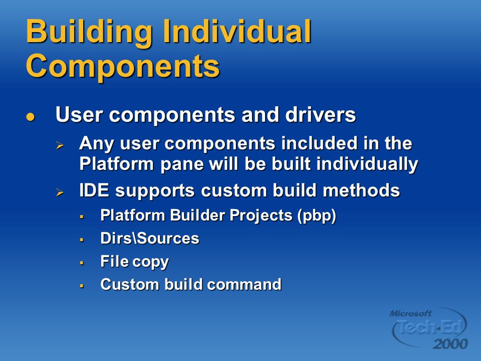 Building Individual Components