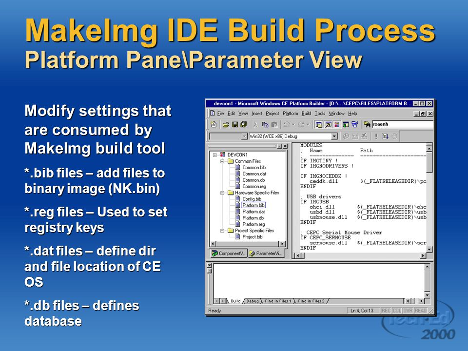 MakeImg IDE Build Process Platform Pane\Parameter View