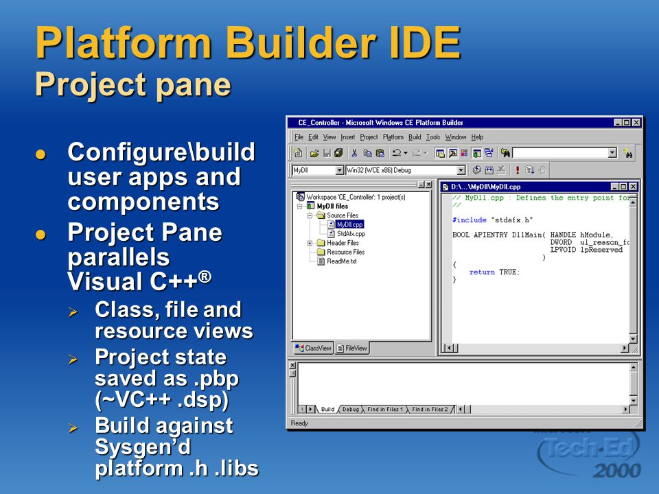 Platform Builder IDE Project pane