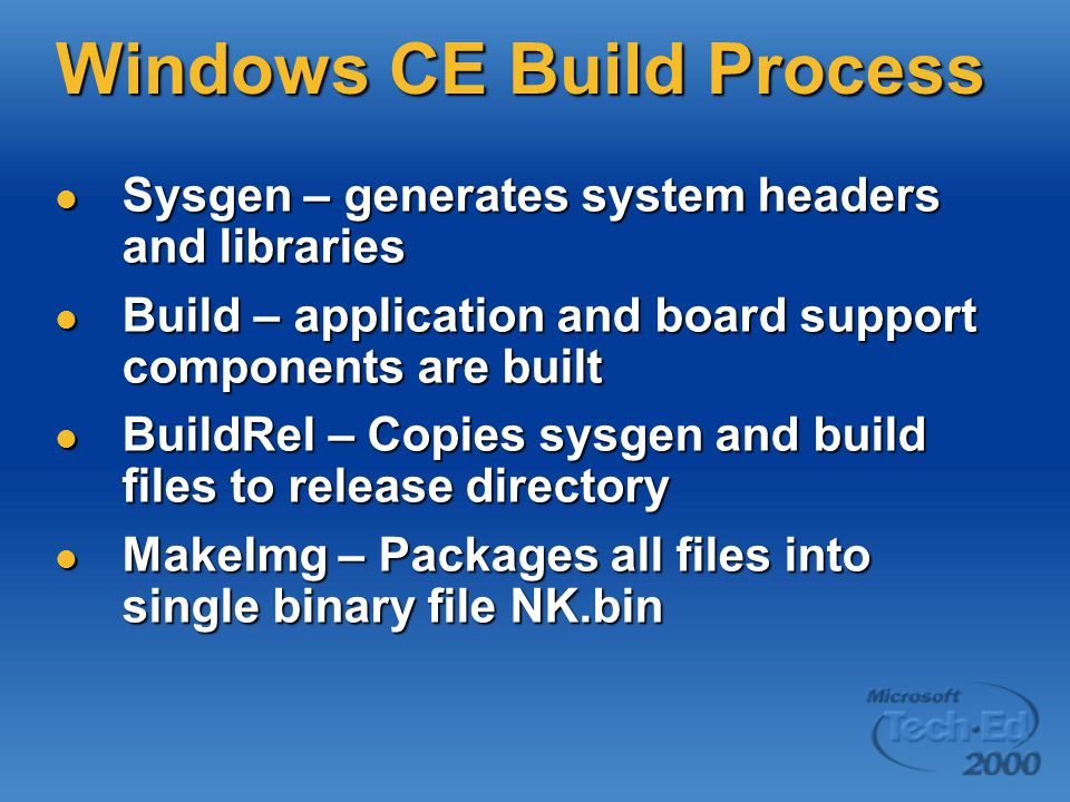 Windows CE Build Process