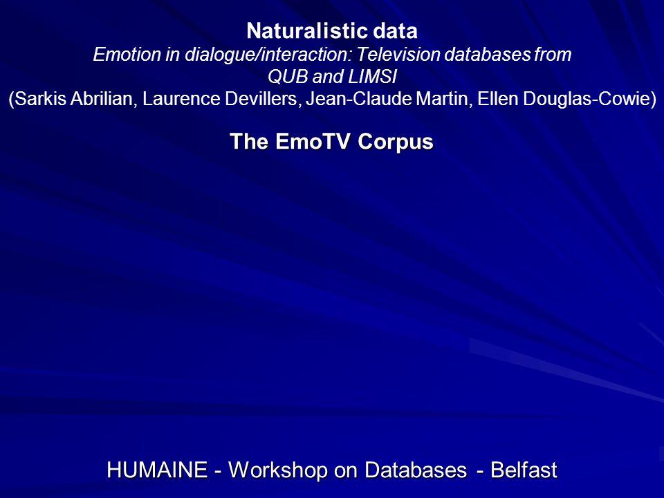 HUMAINE - Workshop on Databases - Belfast
