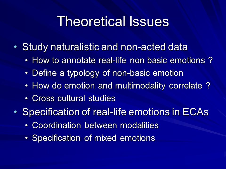 Theoretical Issues Study naturalistic and non-acted data