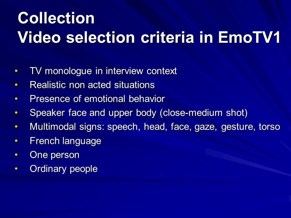 Collection Video selection criteria in EmoTV1