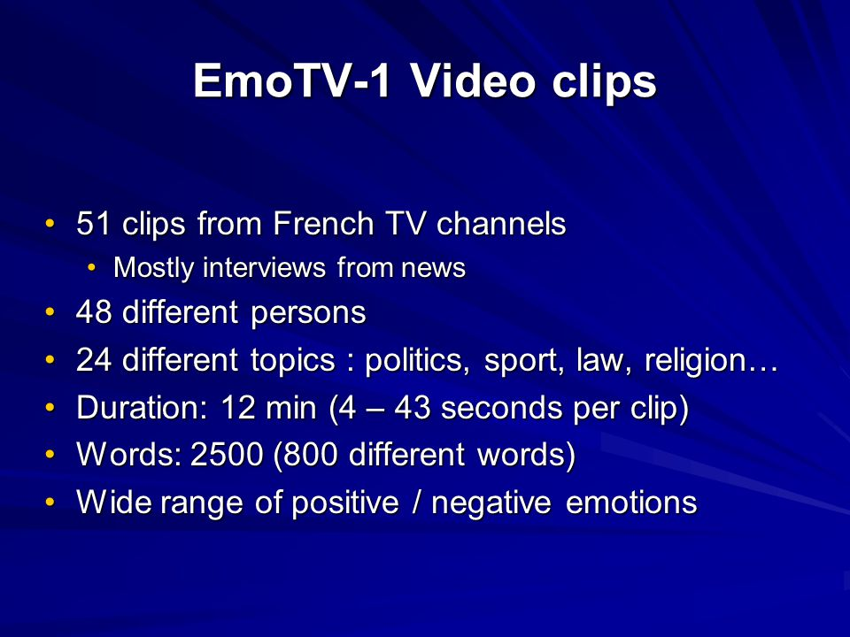 EmoTV-1 Video clips 51 clips from French TV channels