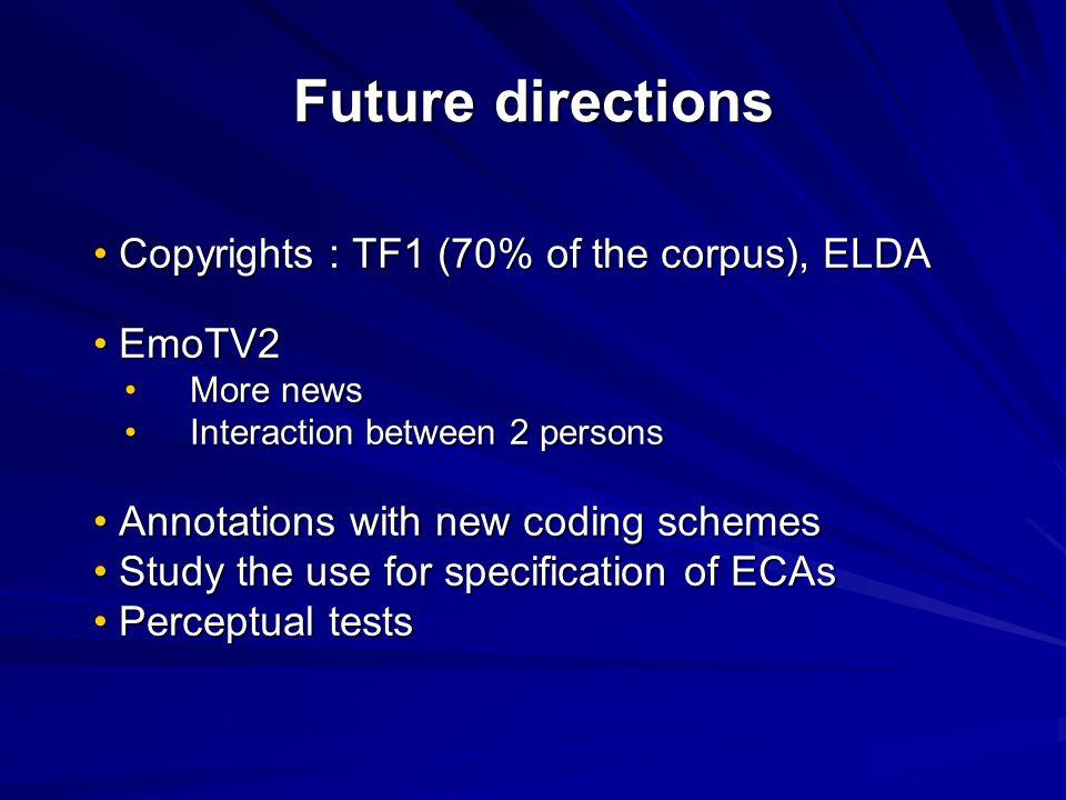 Future directions Copyrights : TF1 (70% of the corpus), ELDA EmoTV2