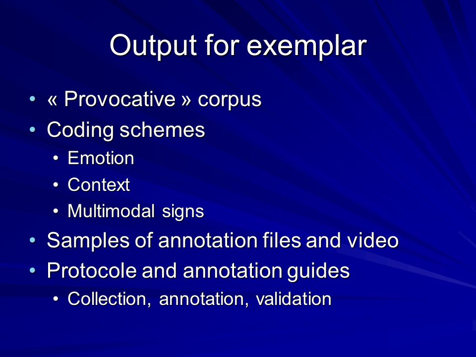 Output for exemplar « Provocative » corpus Coding schemes