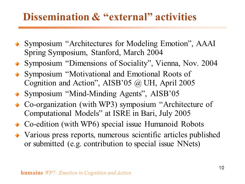 Dissemination & external activities