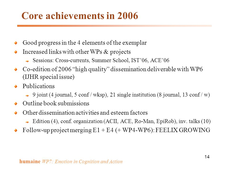 Core achievements in 2006 Good progress in the 4 elements of the exemplar. Increased links with other WPs & projects.