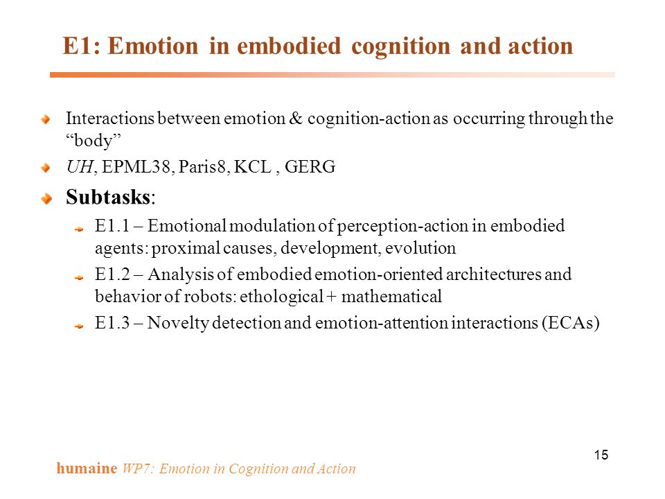E1: Emotion in embodied cognition and action