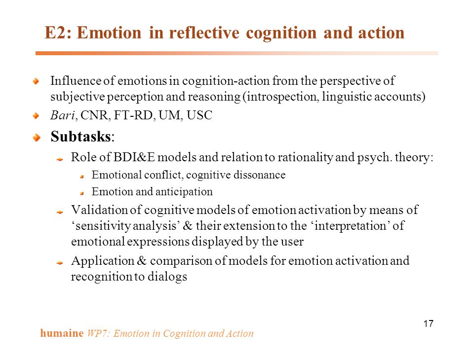 E2: Emotion in reflective cognition and action