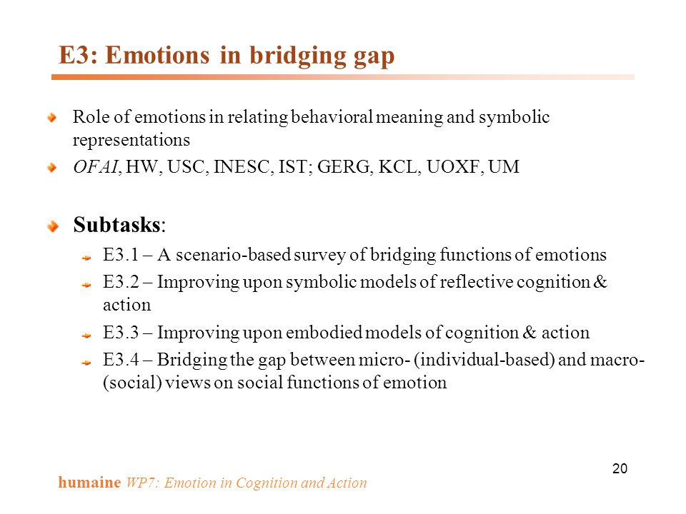 E3: Emotions in bridging gap