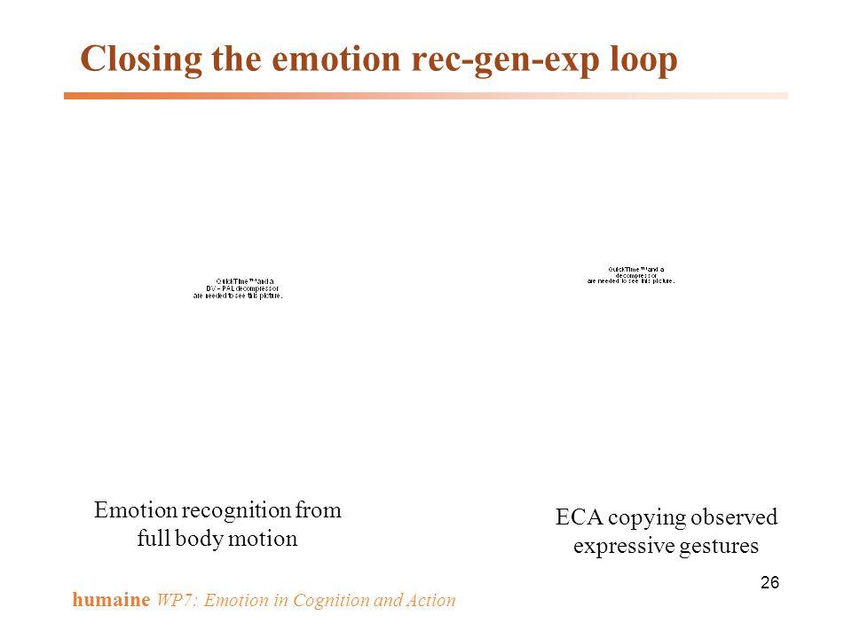 Closing the emotion rec-gen-exp loop