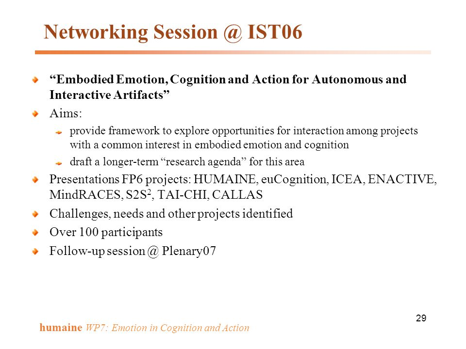 Networking Session @ IST06