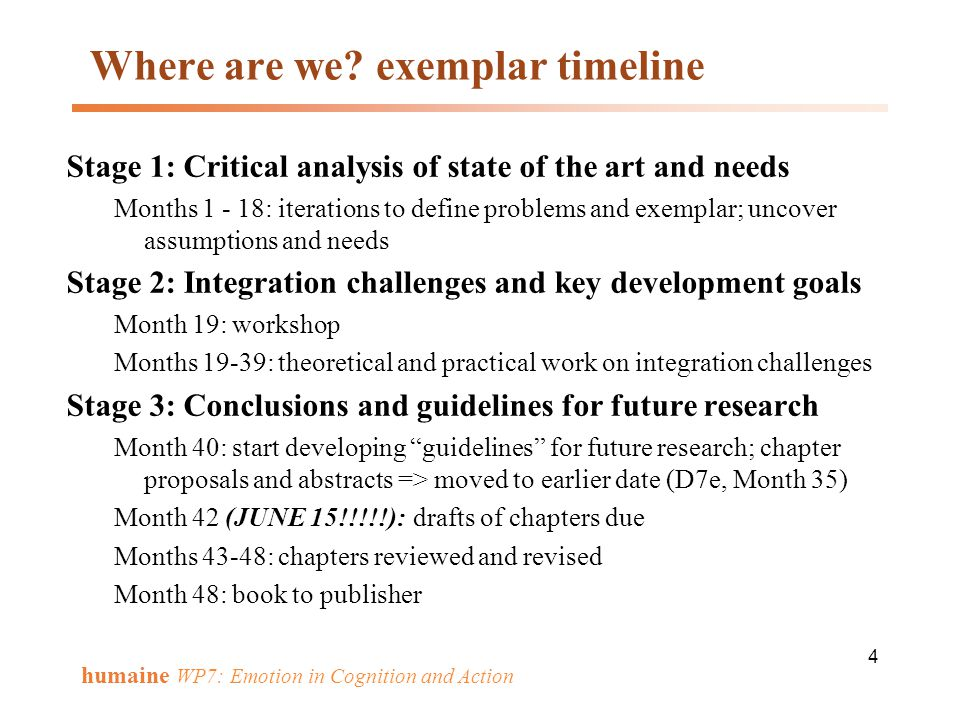 Where are we exemplar timeline