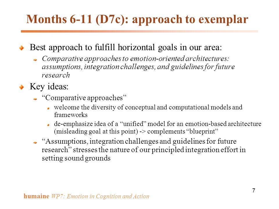 Months 6-11 (D7c): approach to exemplar
