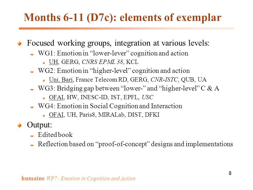Months 6-11 (D7c): elements of exemplar