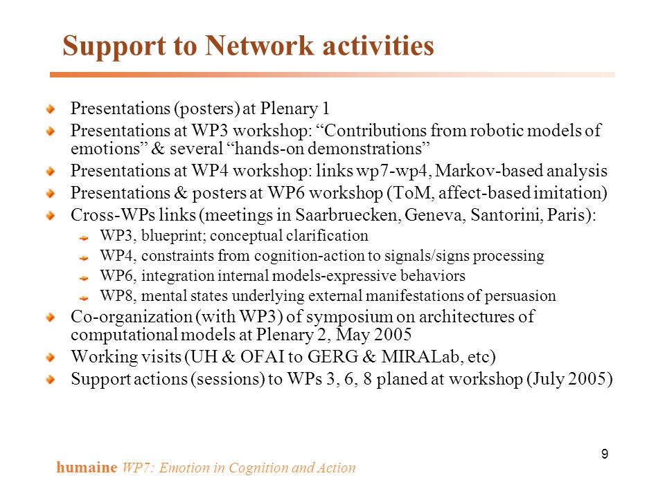 Support to Network activities