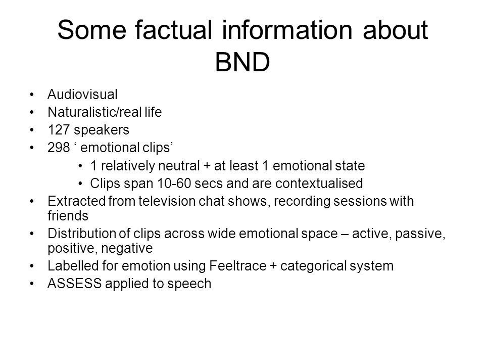 Some factual information about BND