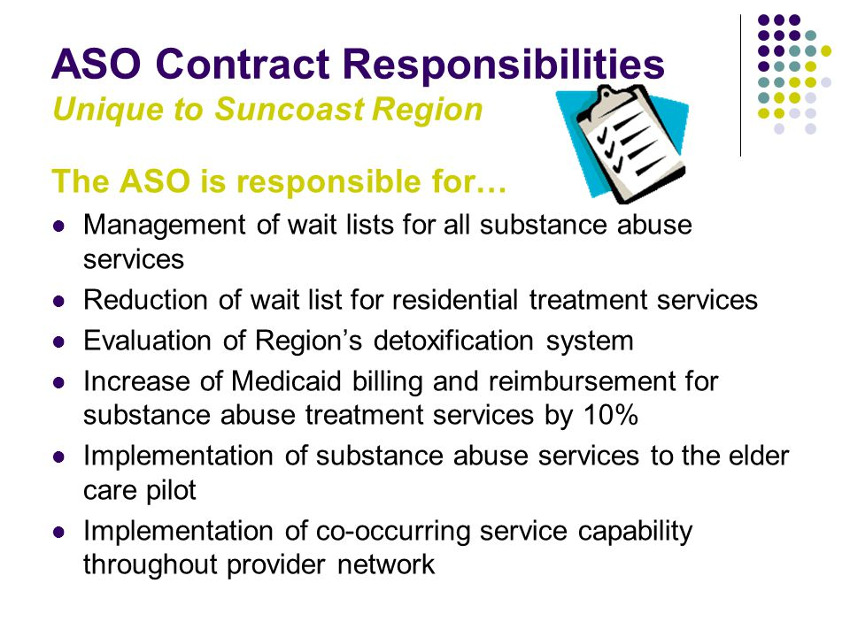 ASO Contract Responsibilities Unique to Suncoast Region