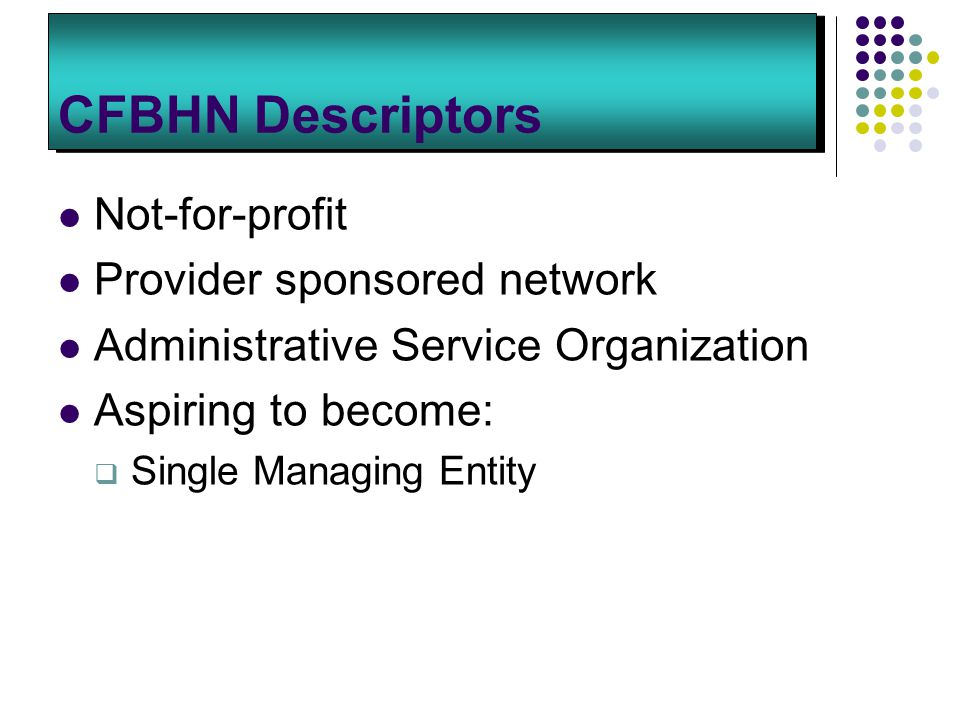 CFBHN Descriptors Not-for-profit Provider sponsored network