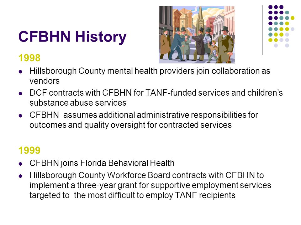 CFBHN History 1998. Hillsborough County mental health providers join collaboration as vendors.