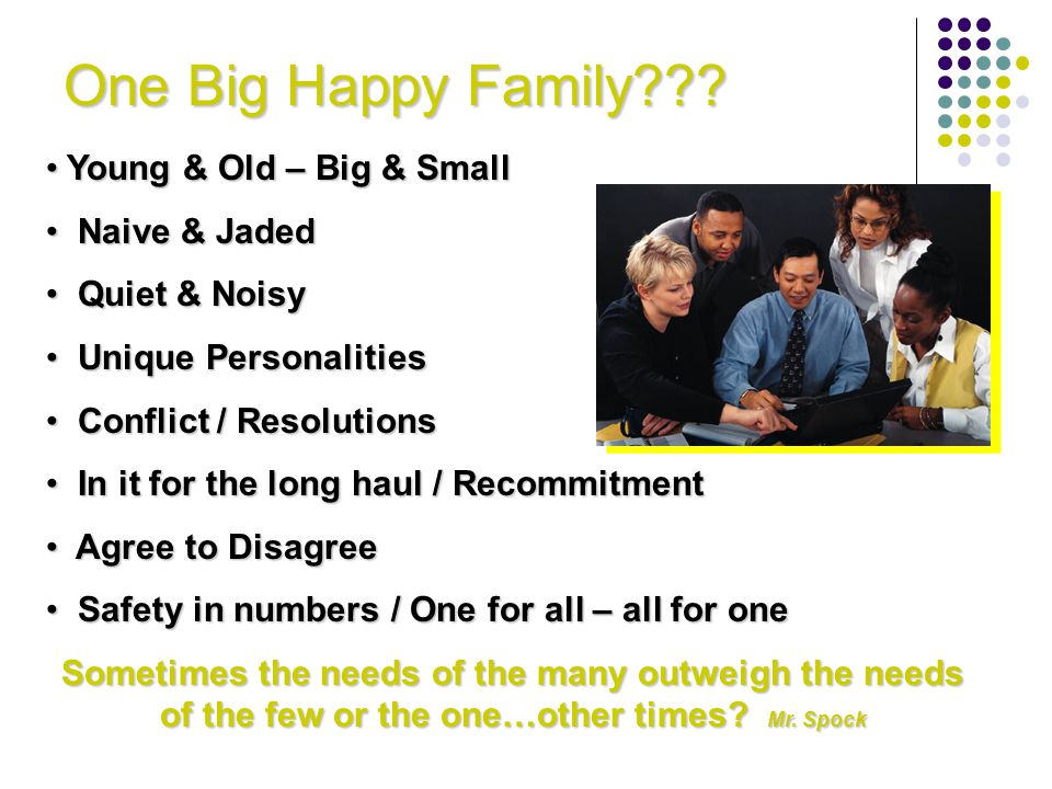 One Big Happy Family Young & Old – Big & Small Naive & Jaded