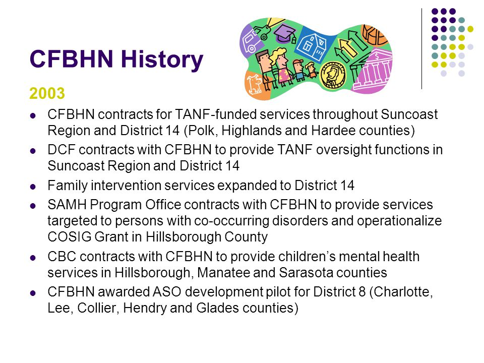 CFBHN History 2003. CFBHN contracts for TANF-funded services throughout Suncoast Region and District 14 (Polk, Highlands and Hardee counties)