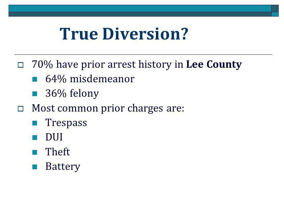True Diversion 70% have prior arrest history in Lee County