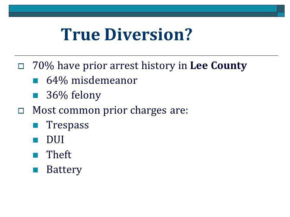 True Diversion 70% have prior arrest history in Lee County