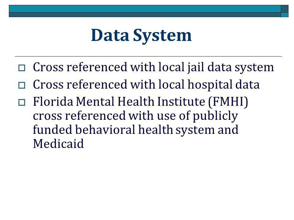 Data System Cross referenced with local jail data system