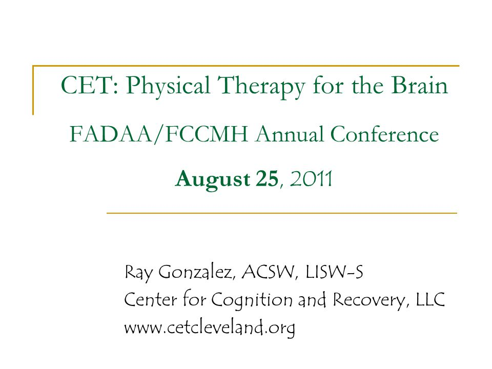 CET: Physical Therapy for the Brain FADAA/FCCMH Annual Conference August 25, 2011