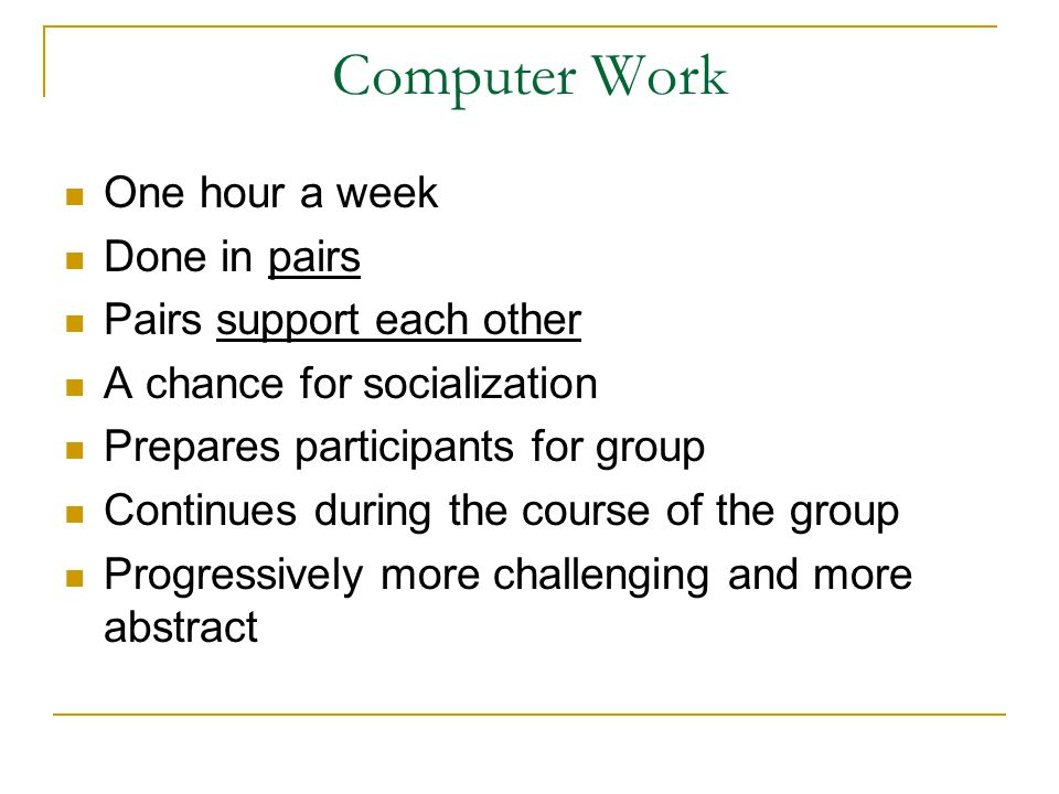 Computer Work One hour a week Done in pairs Pairs support each other