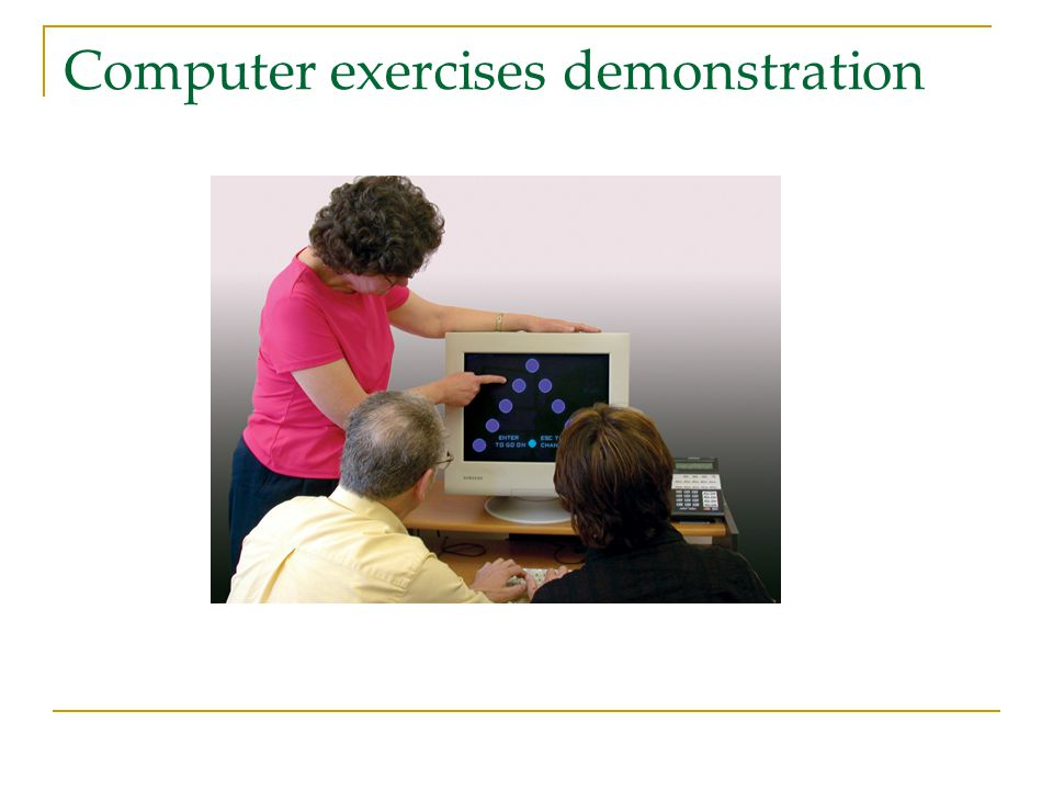 Computer exercises demonstration