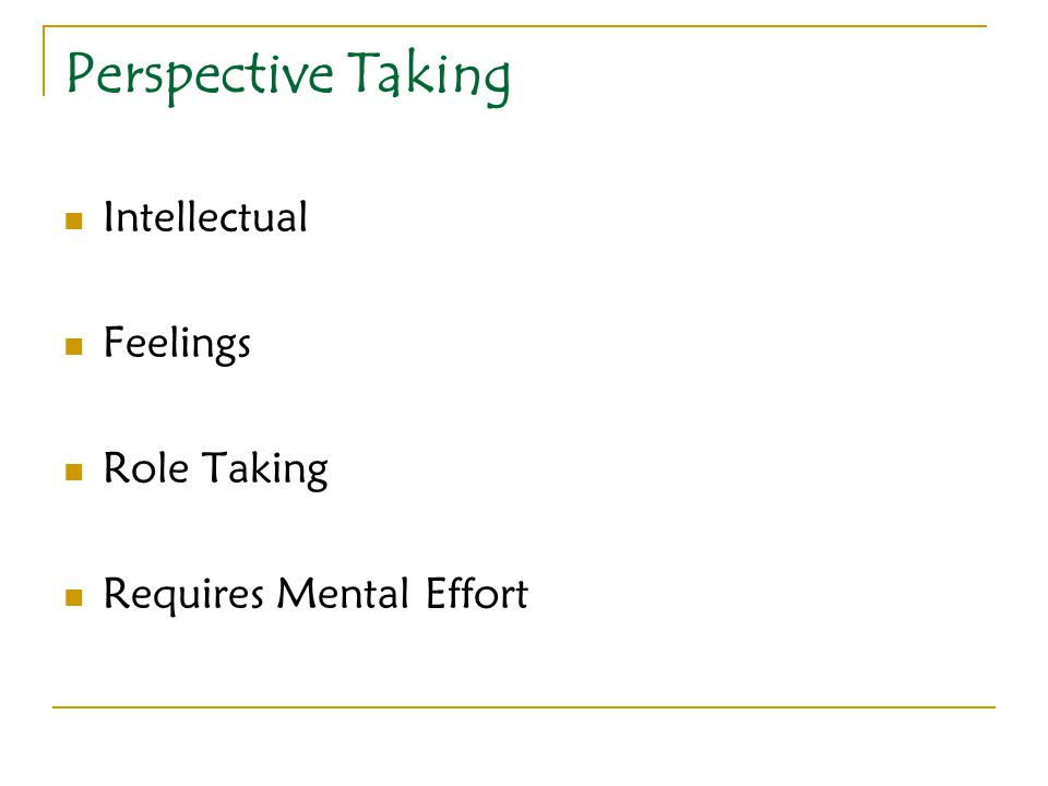 Perspective Taking Intellectual Feelings Role Taking