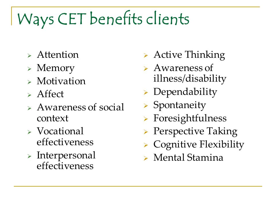 Ways CET benefits clients