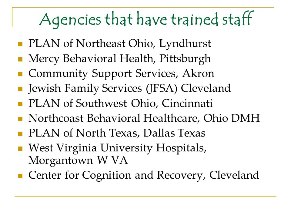 Agencies that have trained staff