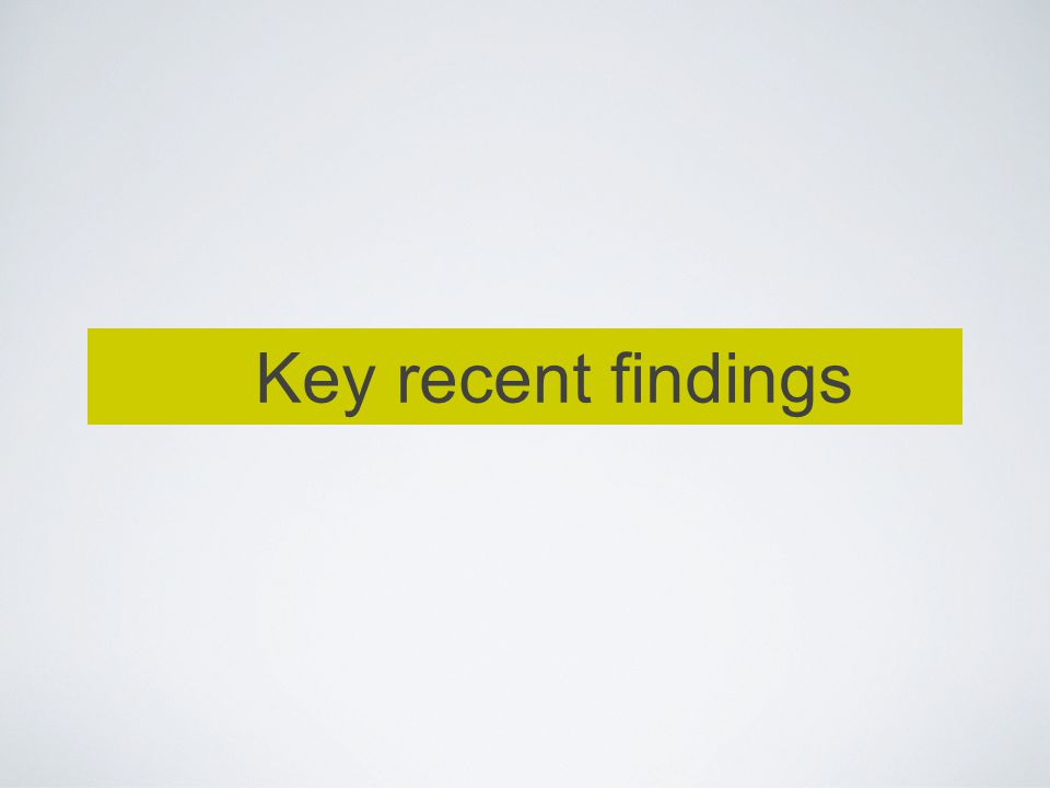 Key recent findings