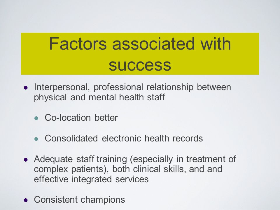 Factors associated with success