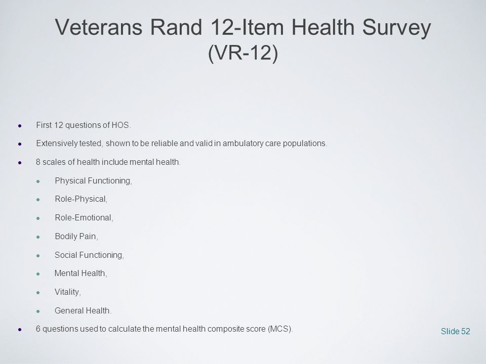 Veterans Rand 12-Item Health Survey (VR-12)