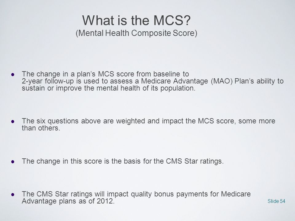 What is the MCS (Mental Health Composite Score)