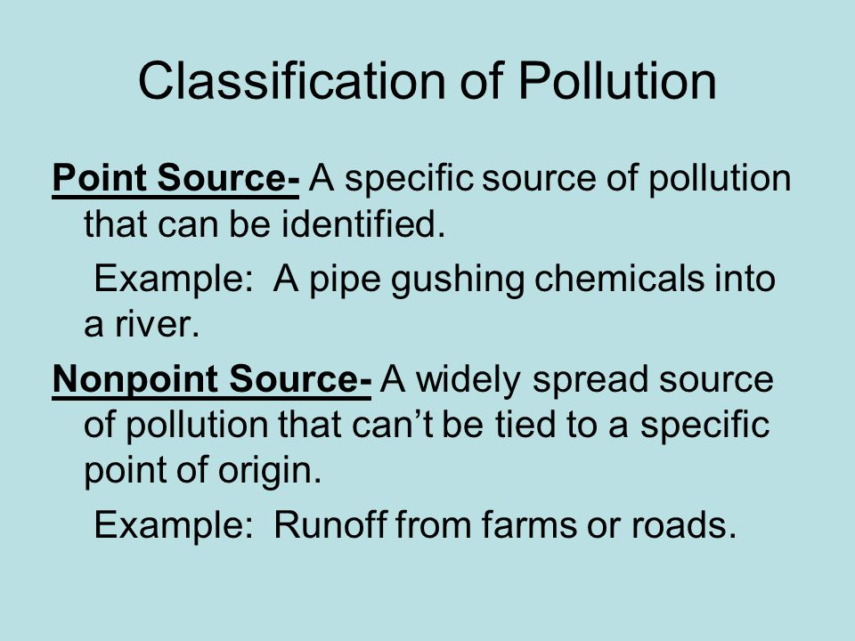 Classification of Pollution